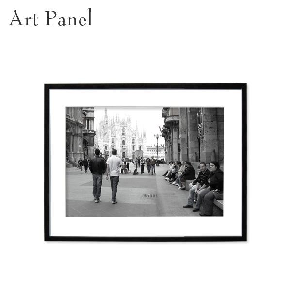 アートパネル モノトーン ミラノ 街並み 壁掛け 白黒 インテリア モダン アートボード 額付き モノクロ写真