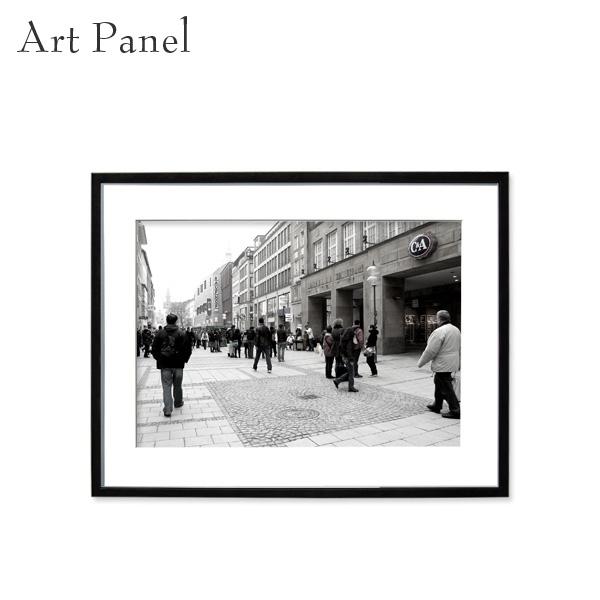 アートパネル モノトーン 街並み ミュンヘン 壁掛け 白黒 インテリア モダン アートボード 額付き モノクロ写真