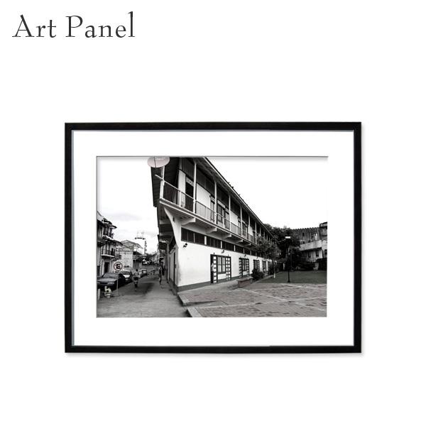 アートパネル モノトーン パナマ 街並み 壁掛け 白黒 インテリア モダン アートボード 額付き モノクロ写真