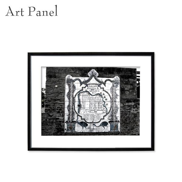 アートパネル モノトーン 旧市街 壁掛け 白黒 インテリア モダン アートボード 額付き モノクロ写真