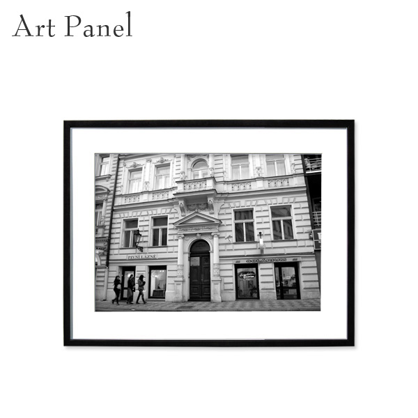 アートパネル モノトーン プラハ 街 壁掛け 白黒 壁面 インテリア モダン アートボード 額付き モノクロ アート写真