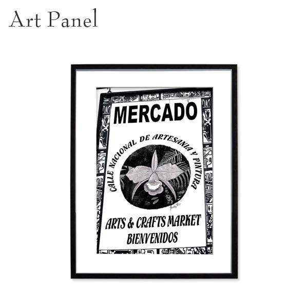 アートパネル モノトーン 看板 メキシコ 壁掛け 白黒 壁面 インテリア モダン アートボード 額付き モノクロ アート写真