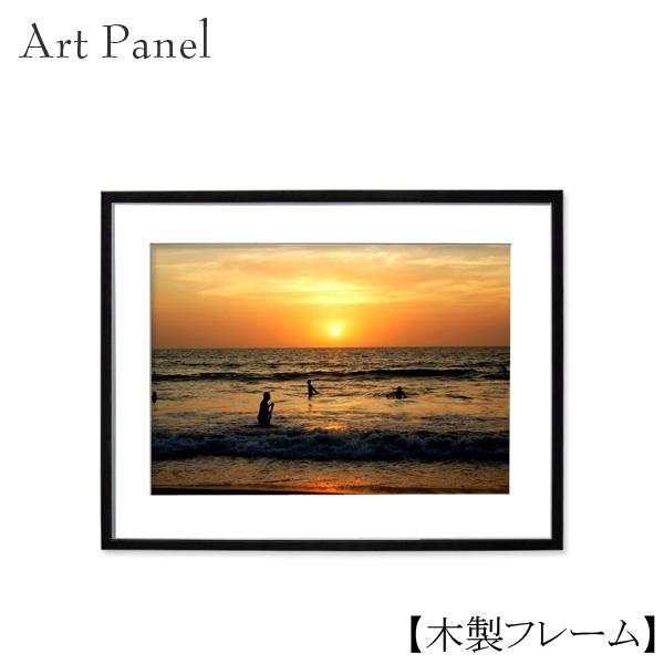 アートパネル 海 夕日 壁掛け バリ島 インテリア 壁面 写真 壁飾り 額付き アートフレーム