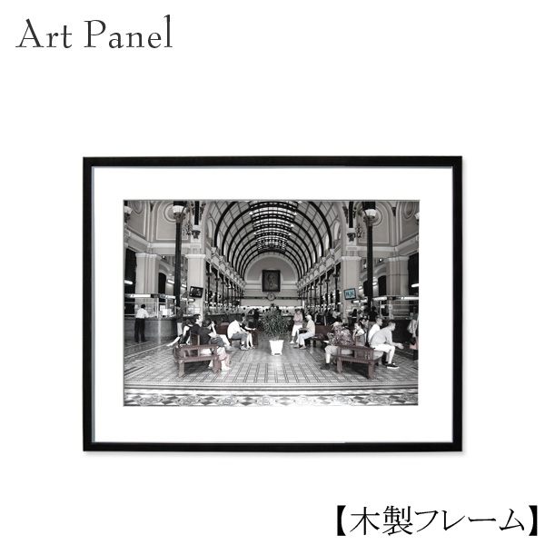 壁掛け アート モノクロ アートパネル アジア 木製 付属品 絵画 写真 白黒 モノトーン おしゃれ 額付き アートボード