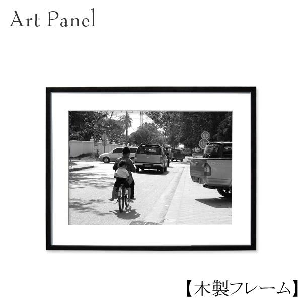 壁掛け アートパネル アジア 街並み モノトーン フォトパネル 額付 絵画 おしゃれ 飾り 木製 額 アートポスター