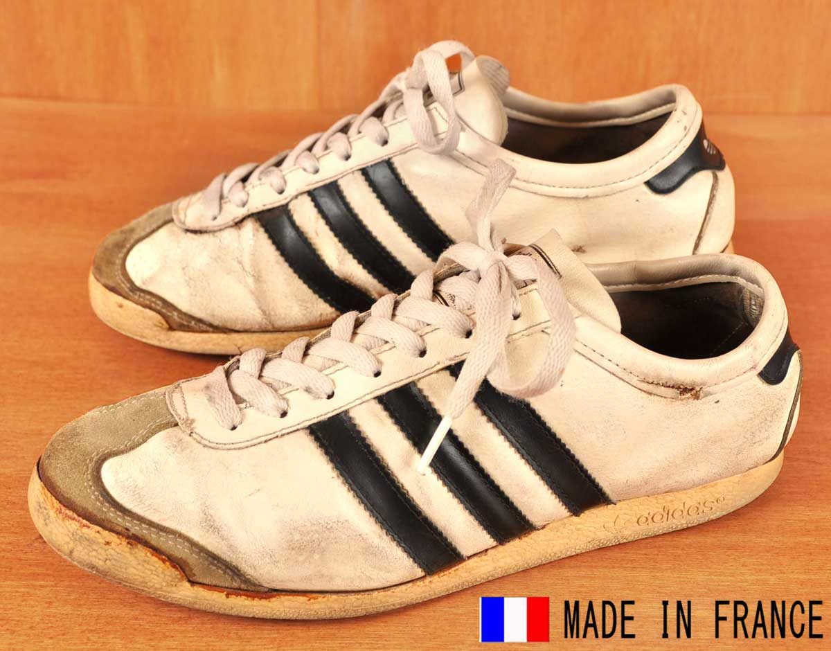 b0d3d05adf Vintage 1970s France made   adidas adidas   GYM gym   locate sneaker    White x black leather   JPN25.5cm equivalent