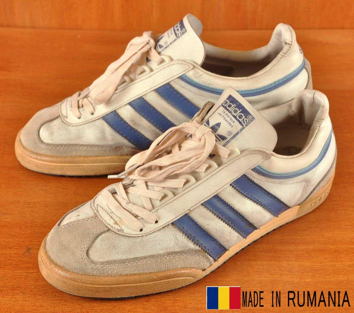 Vintage 1980 s Romania made   adidas adidas   Pacific Pacific   locate  sneaker   White x blue leather   JPN26.0cm  467b2698575b