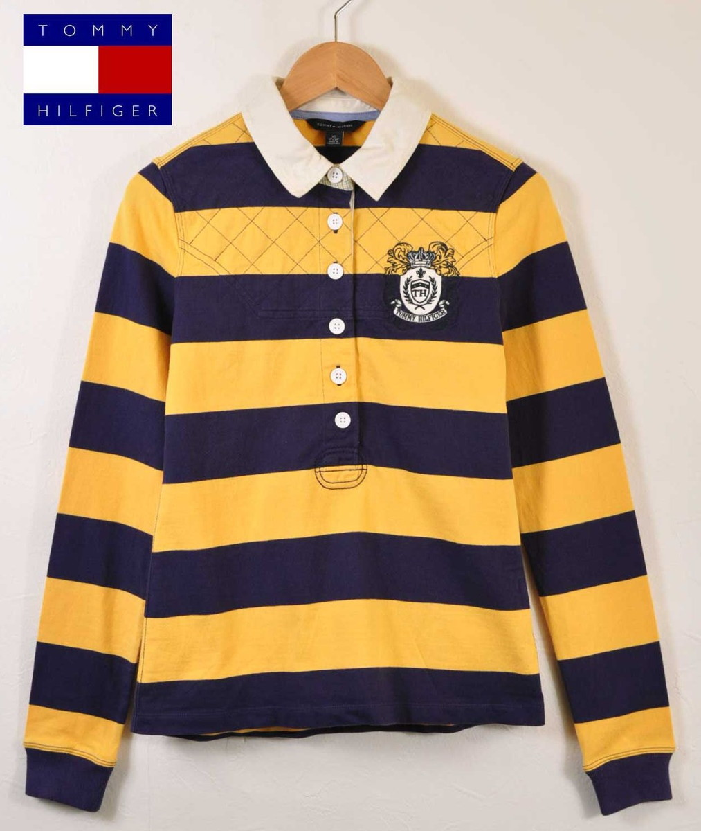 39fc248f TOMMY HILFIGER トミーヒルフィガー long sleeves rugby shirt-style long sleeves polo  shirt yellow X ...