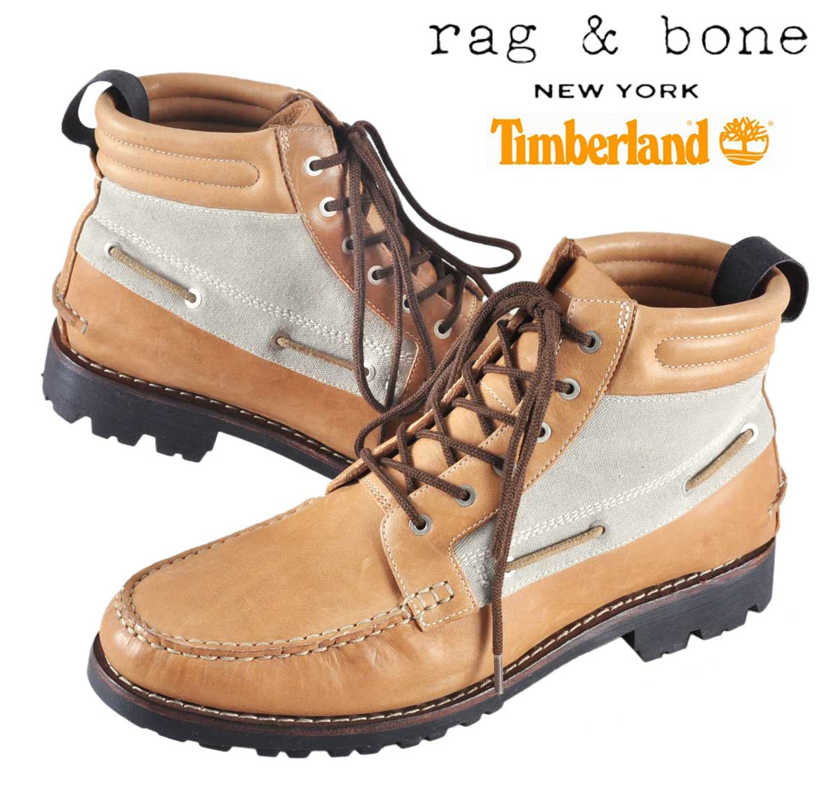 Timberland×rag &bone Timberland x rag & bone / boat chukka boots outed  about / camel brown leather / canvas / JPN27.0cm: