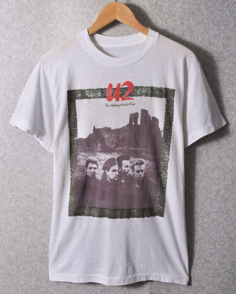 ヴィンテージ 1984年製 / U2 / Unforgettable Fire TOUR / 半袖バンドTシャツ / ホワイト / メンズS相当【中古】♪