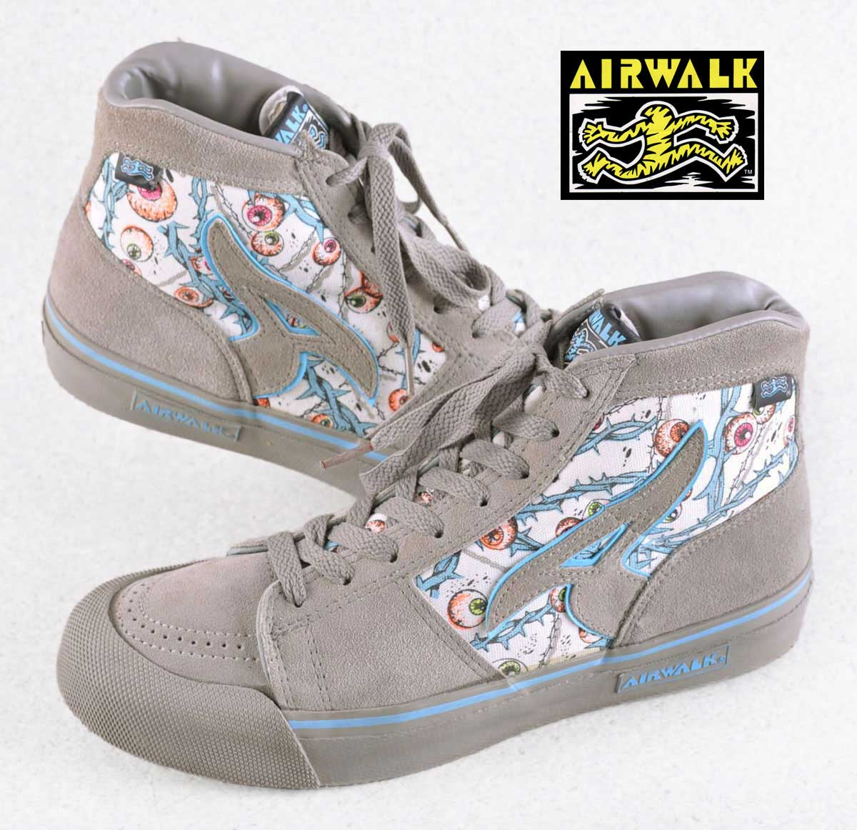 Vintage 1980s   AIRWALK air walk   skating shoes   large A EYEBALL eye ball    gray eyeball whole pattern   JPN27.5cm 5a4447624
