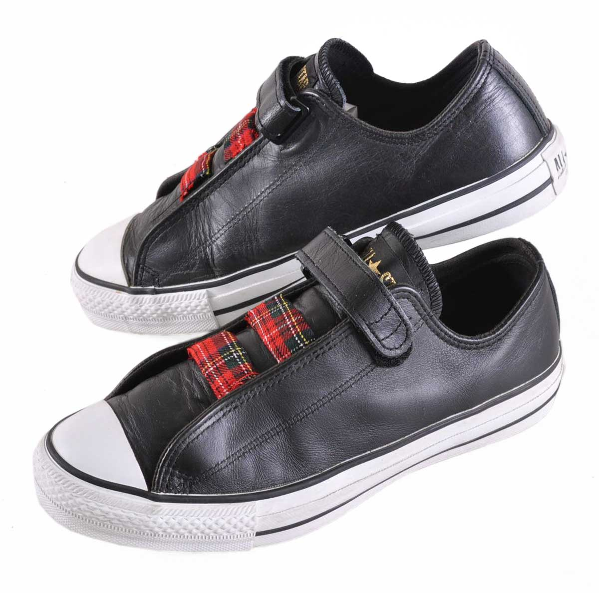 733804d5e458 CONVERSE Converse   ALL STAR LOW SLIP all-stars LOW slip   SLIP-ON slip-ons    black leather   JPN24 .5cm in the vintage 1990s made in Japan♪