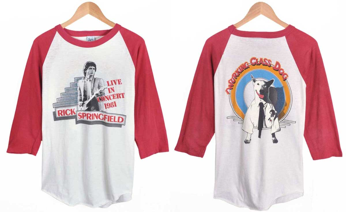 Vintage 1981 USA-made / RICK SPRINGFIELD Rick Springfield / Working Class Dog working class dog / tour Raglan T shirt / White x blue / red mens M equivalent to 1