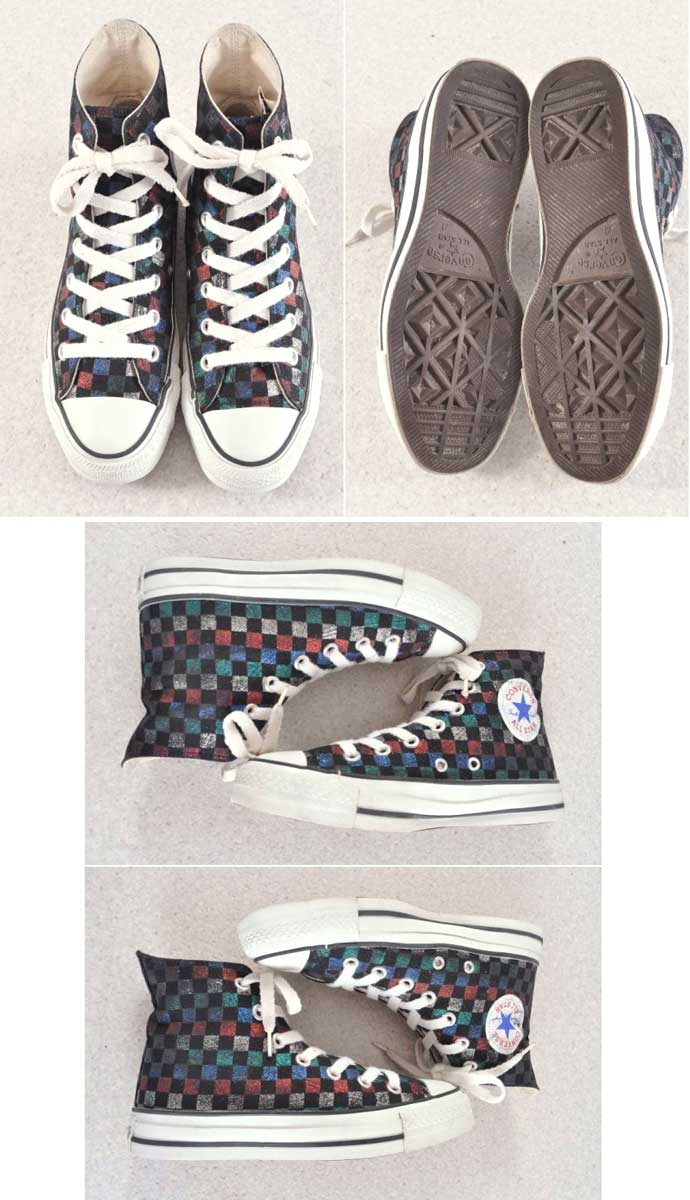 c372666648a6 CONVERSE Converse   ALL STAR HI all-stars HI   black multicolored lam  checker flag pattern canvas   JPN23 .0cm in the vintage 1990s made in Japan○