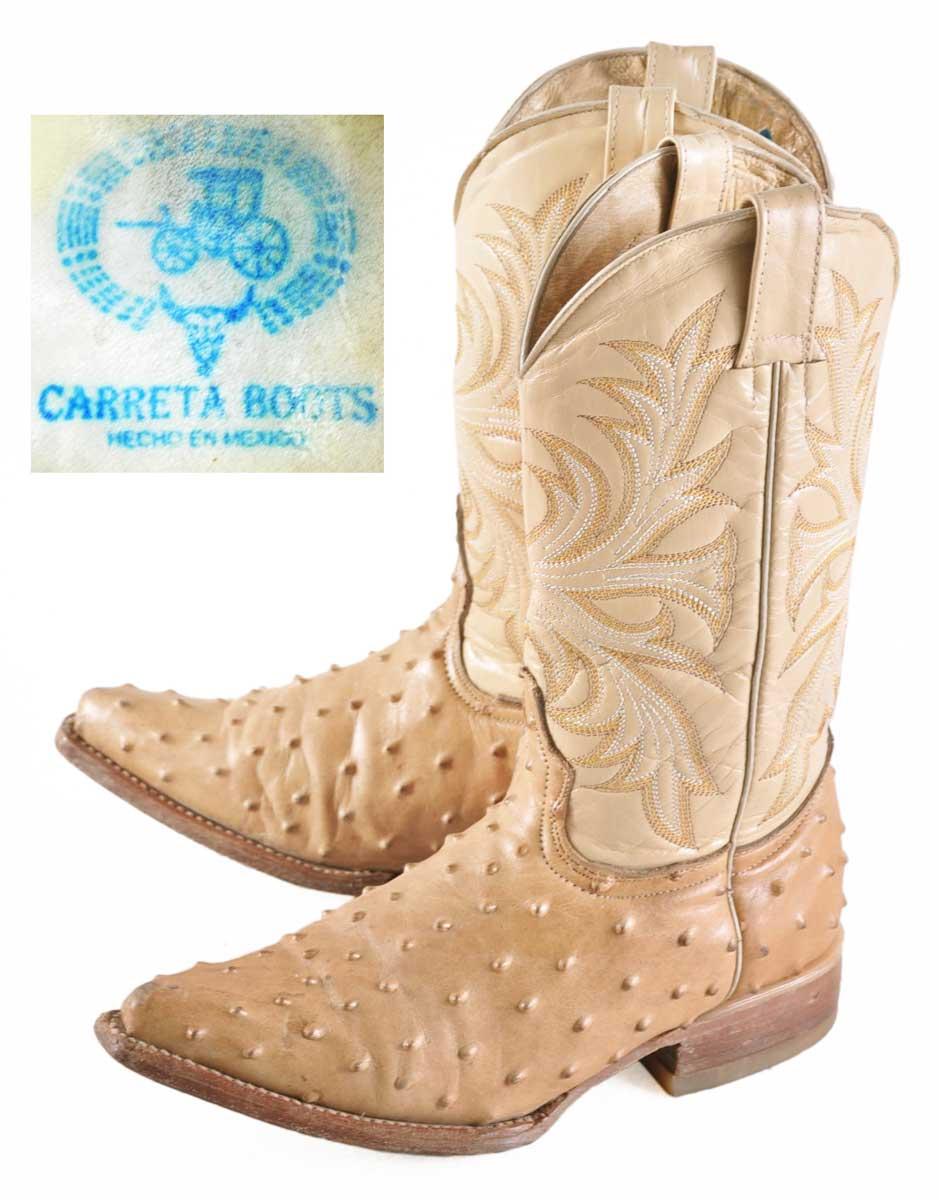 墨西哥制造/CARRETA BOOTS karetabutsu/西部靴/浅驼色驼鸟/JPN21.0cm♪