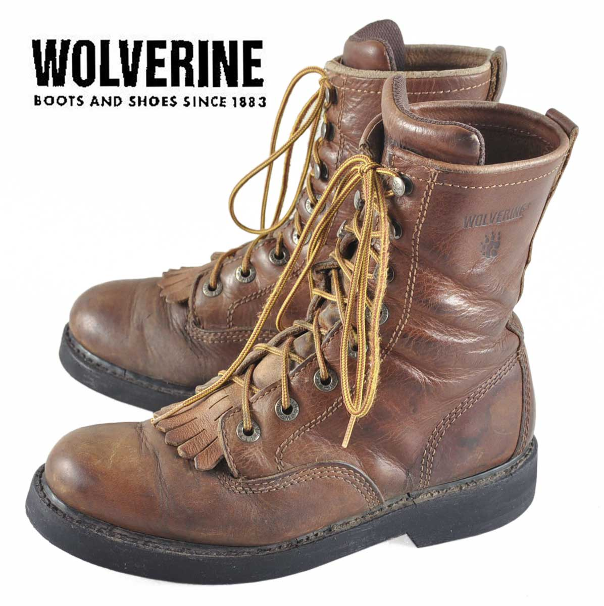 39cd686818d WOLVERINE Wolverine   folstein lace-up work boots   brown leather    JPN26.0cm equivalent 1