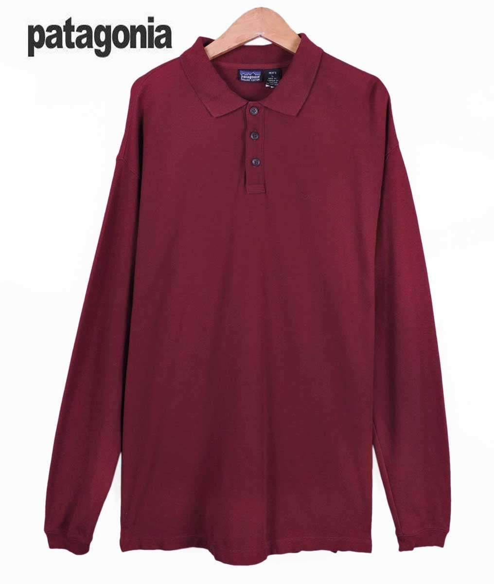 f7573a58 Patagonia Patagonia / organic cotton long-sleeved Polo Shirt / red wine /  men's XL ...