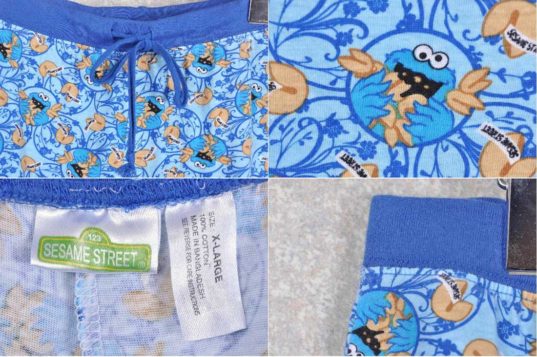 SESAME STREET Sesame Street / elcookie Monster / pattern pants and light  blue pattern / XL size 1