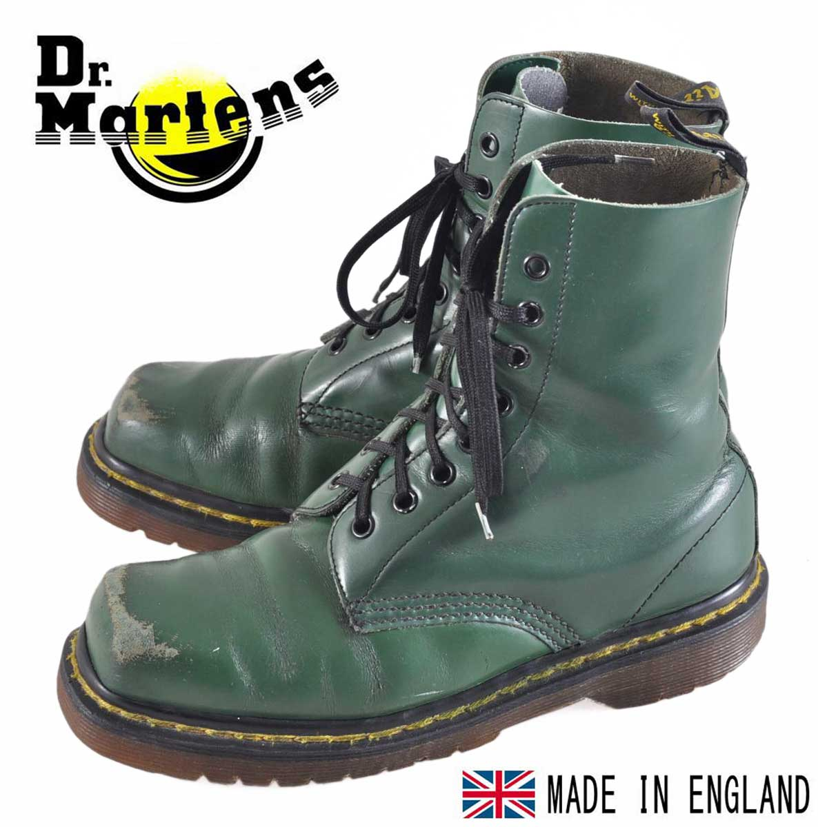 melko mukava myydyin tuote laadukas suunnittelu Vintage / Dr.martens Martens made in England / squat 8 hole boots / green  leather / UK3 JPN22.0cm 1