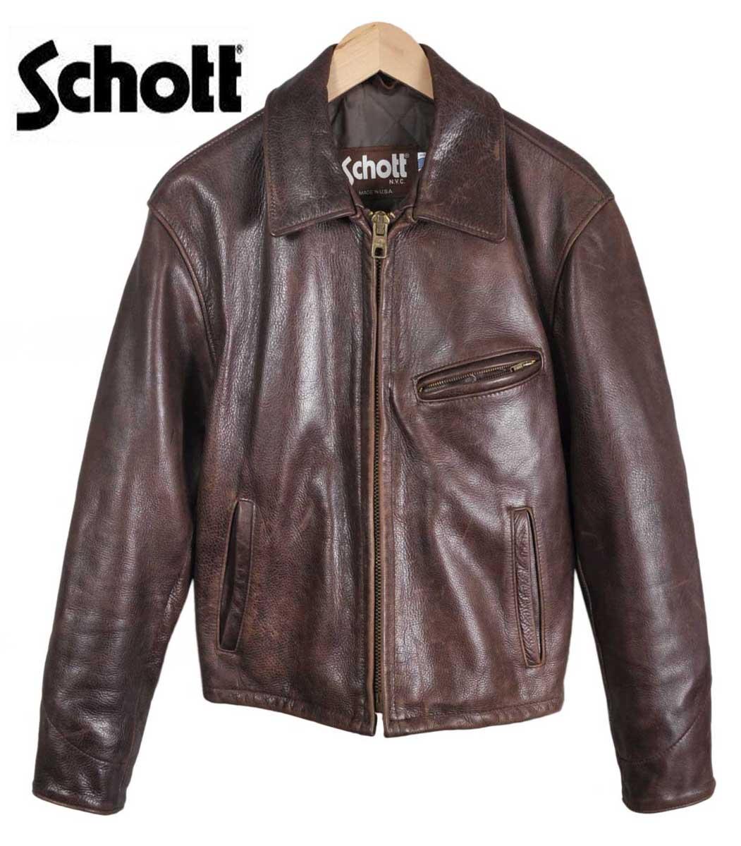 美國製造 / 肖特拍 / 跟蹤器外套皮夾克 / 絎縫班輪和深棕色皮革 steerhide / 36 男子 S 等於 1