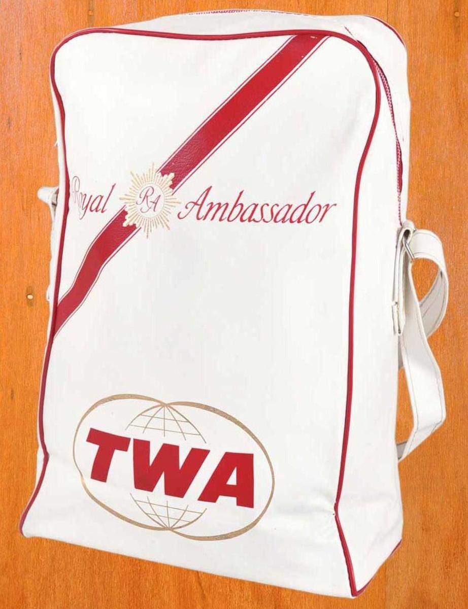 ヴィンテージ 1960年代初頭~1970年代中頃 / TWA TRANS WORLD AIRLINES トランスワールド エアラインズ / エアラインバッグ / ホワイト×レッド【中古】○♪