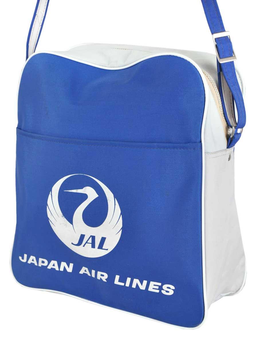 ヴィンテージ 1970年代 日本製 / JAL ジャル JAPAN AIR LINES ジャパンエアラインズ 日本航空 / エアラインバッグ / ブルー×ライトグレー【中古】○