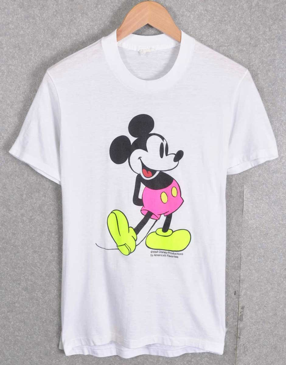 Vintage 1980's DISNEY Disney / MICKEY MOUSE Mickey Mouse short sleeve T shirt / White x fluorescent colors and women's S equivalent to 1