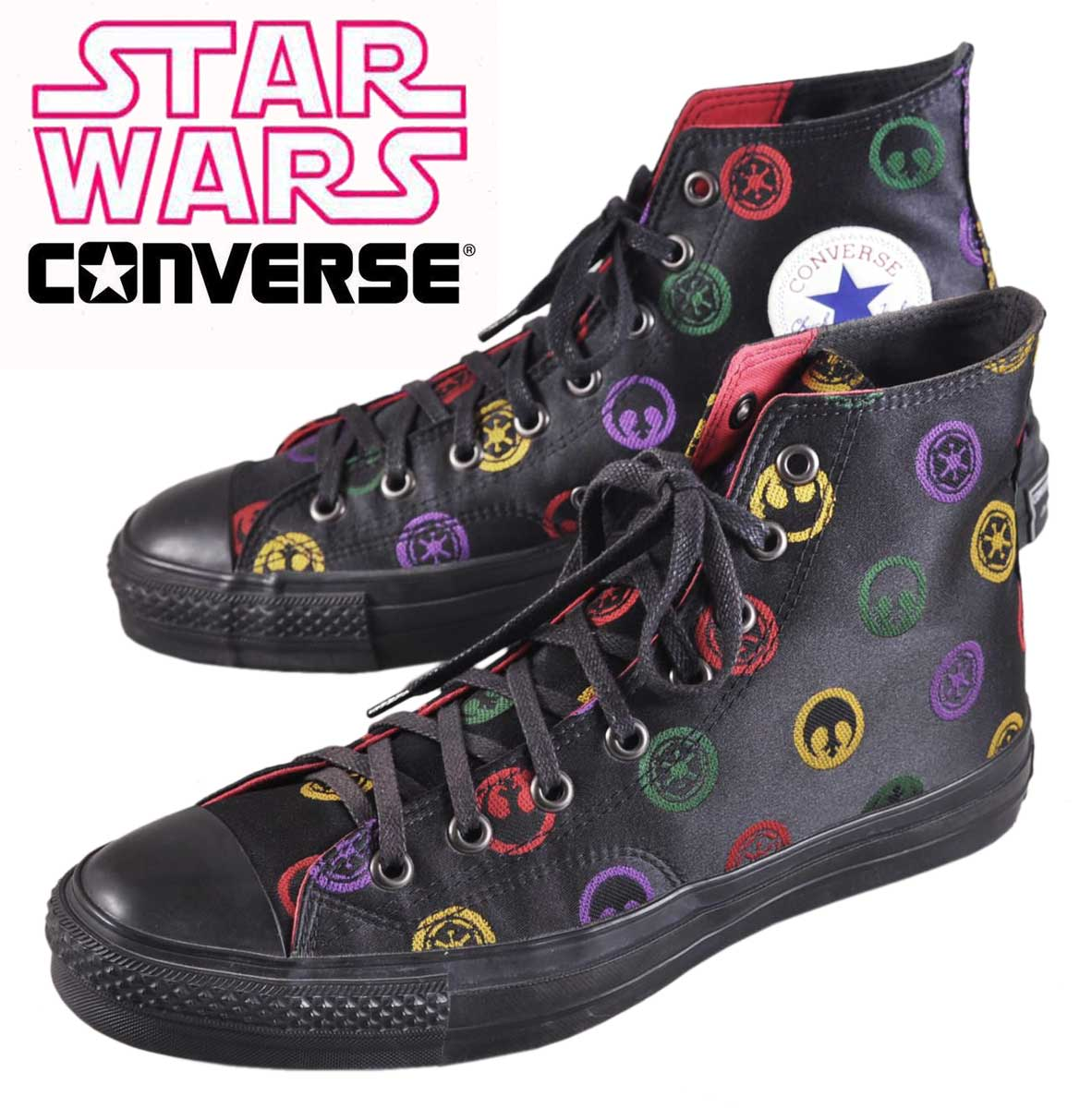 2005 made in Japan CONVERSE x STARWARS converse x Star Wars ALL STAR RETRO STAR WARS HI all star retro Star Wars HI Black logo pattern satin