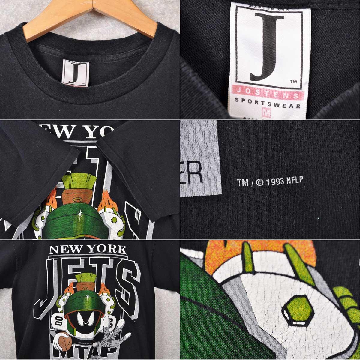 / Vintage 1993 USA-NFL NEWYORK JETS New York Jets / LOONEY TUNES Looney Tunes / Marvin-the Martian / short sleeve t-shirt black / men's