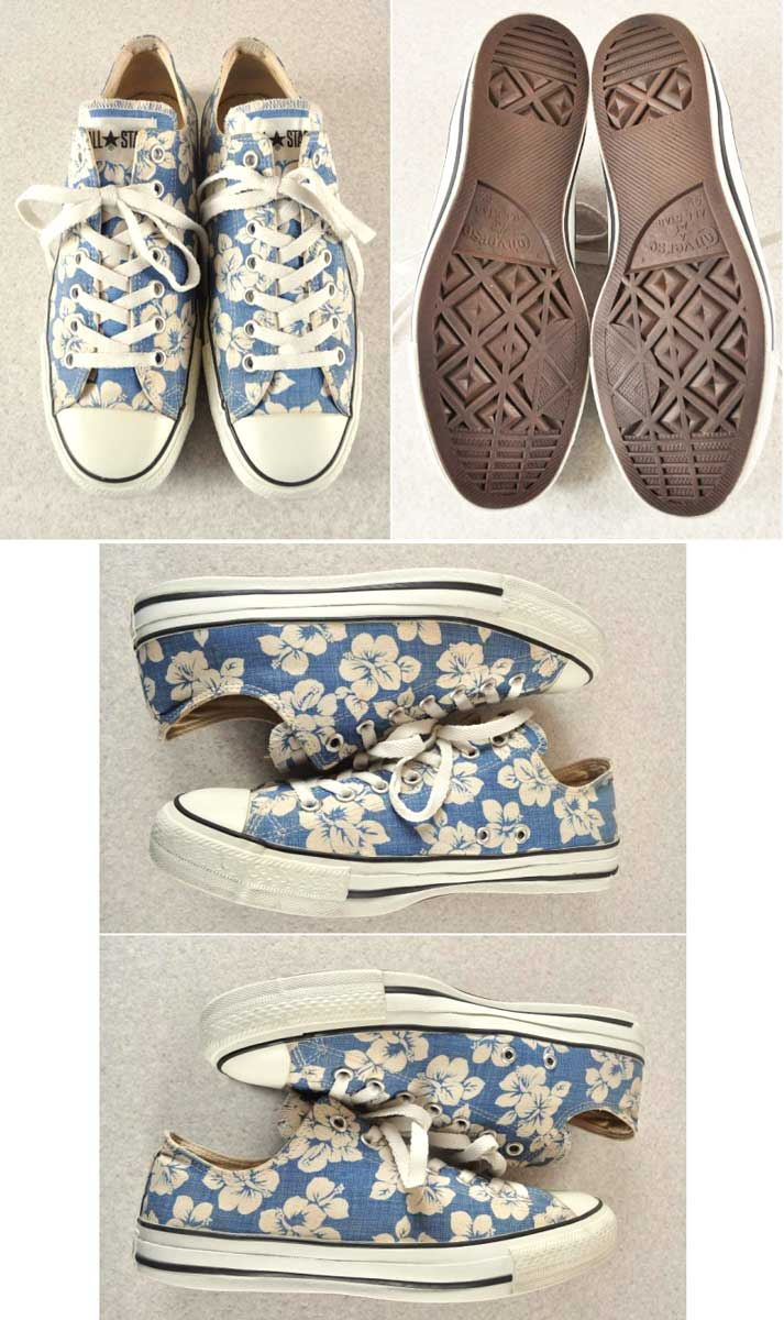 9648bf1e39ce CONVERSE Converse   ALL STAR LOW all-stars LOW   blue X white hibiscus  floral design canvas   JPN28 .0cm in the vintage 1990s made in Japan▽