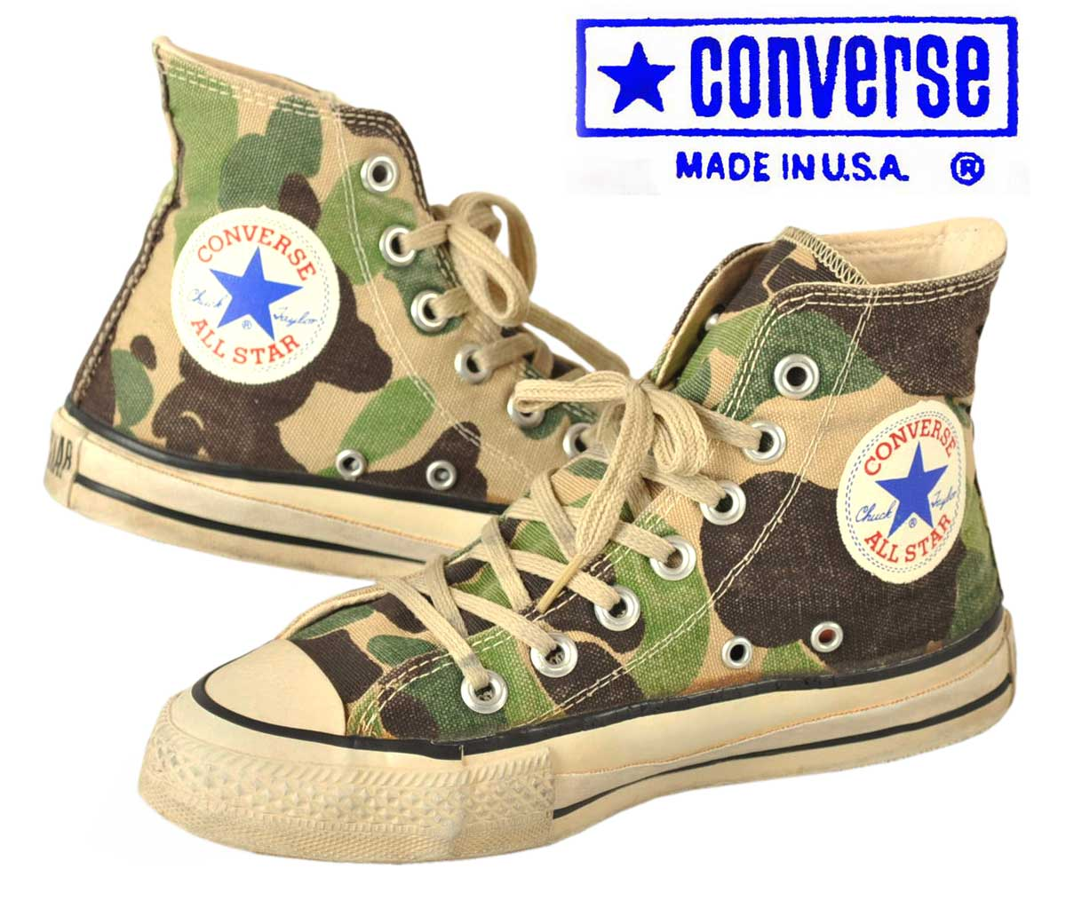 ca25949792aa CONVERSE Converse   ALL STAR HI all-stars HI   camouflage pattern canvas    JPN22 .0cm with expectation cloth in the vintage 1980s made in box logo USA▽