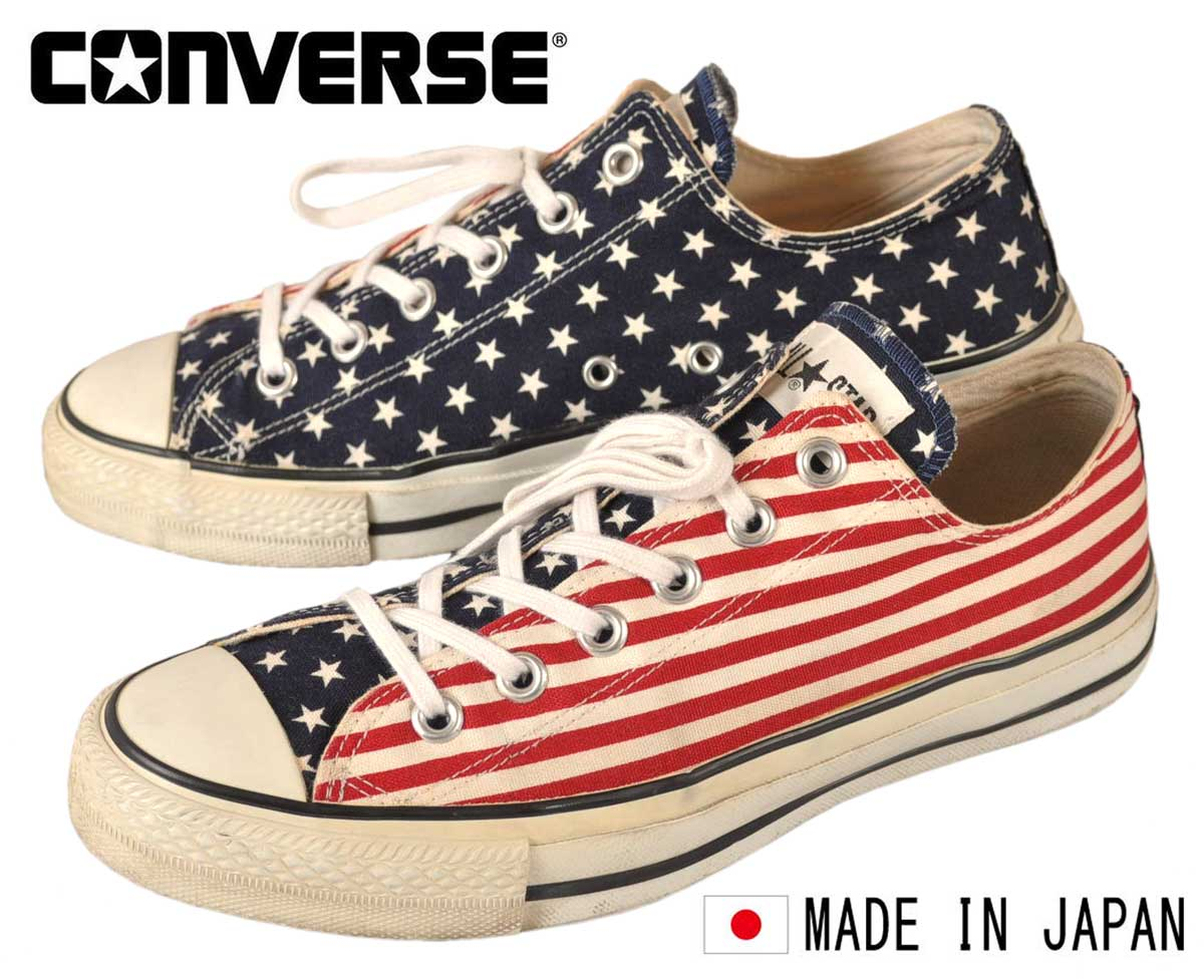 e5f2d09c1579 Vintage 1990 s made in Japan   CONVERSE converse   ALL STAR LOW all star  LOW   star   Byrds American flag stars and stripes pattern canvas    JPN26.0cm