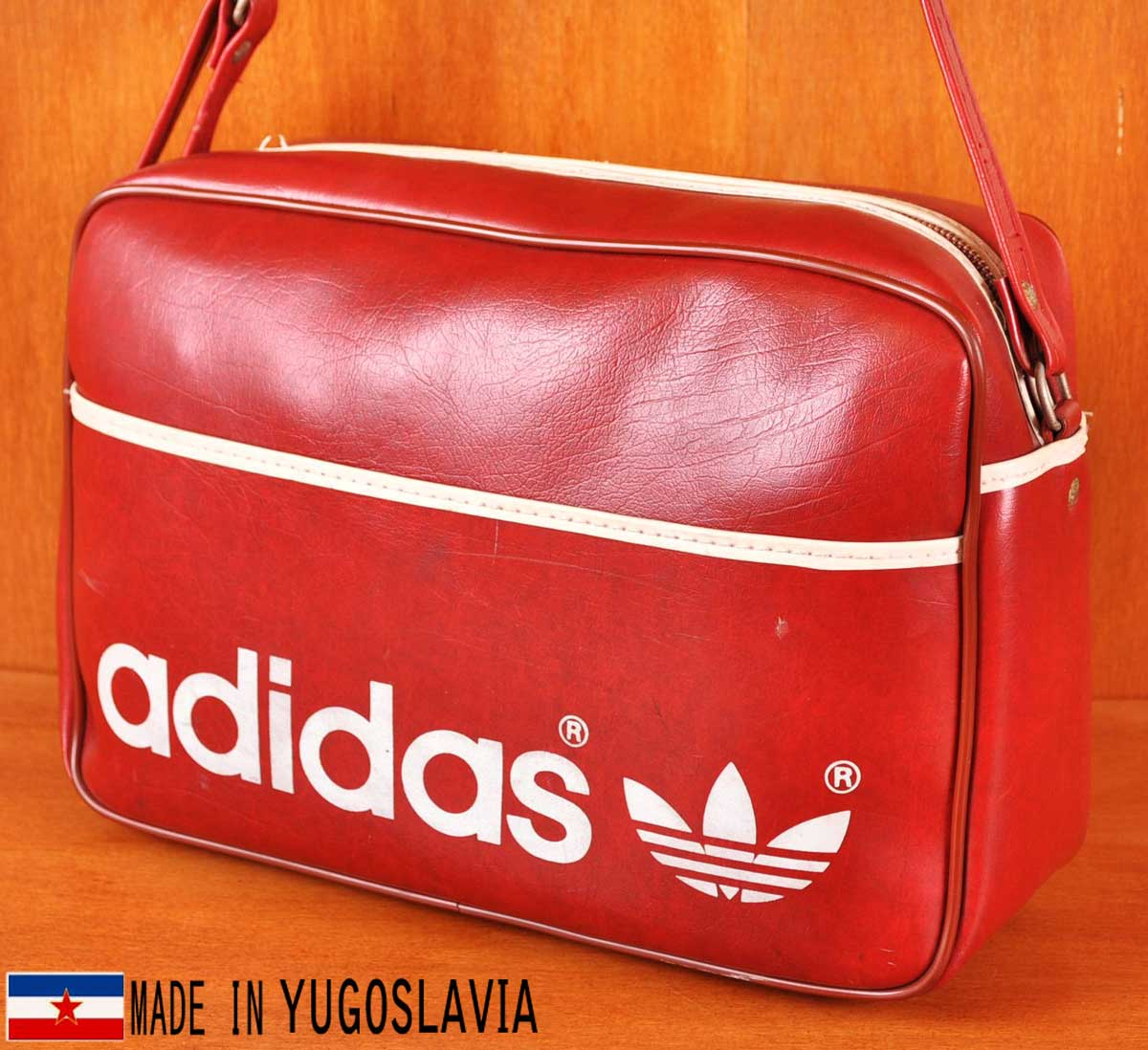 7590b40fd8 Vintage 1970s Yugoslavian-made   adidas adidas   Sport shoulder bag   red ×  white