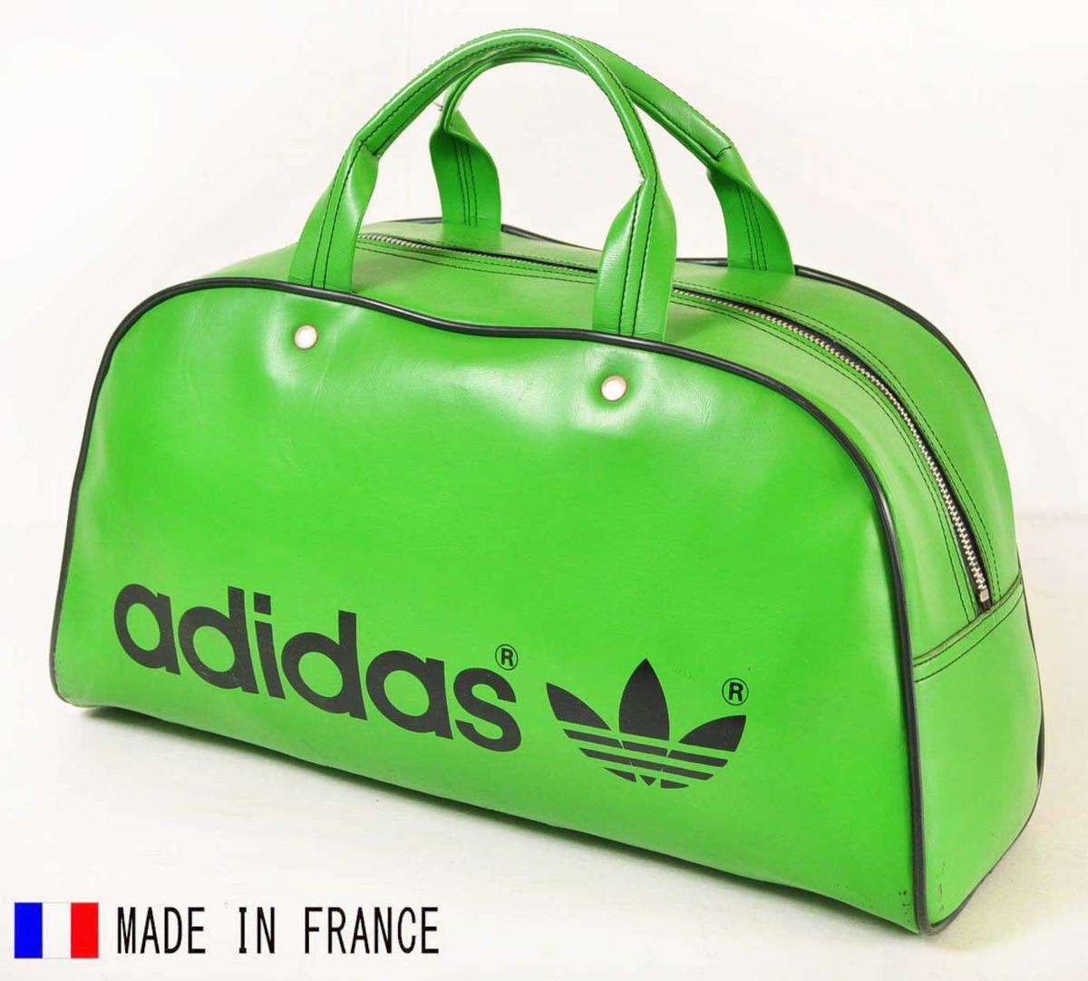 ヴィンテージ 1970年代 フランス製 adidas アディダス スポーツ ボストンバッグ グリーン【中古】▼