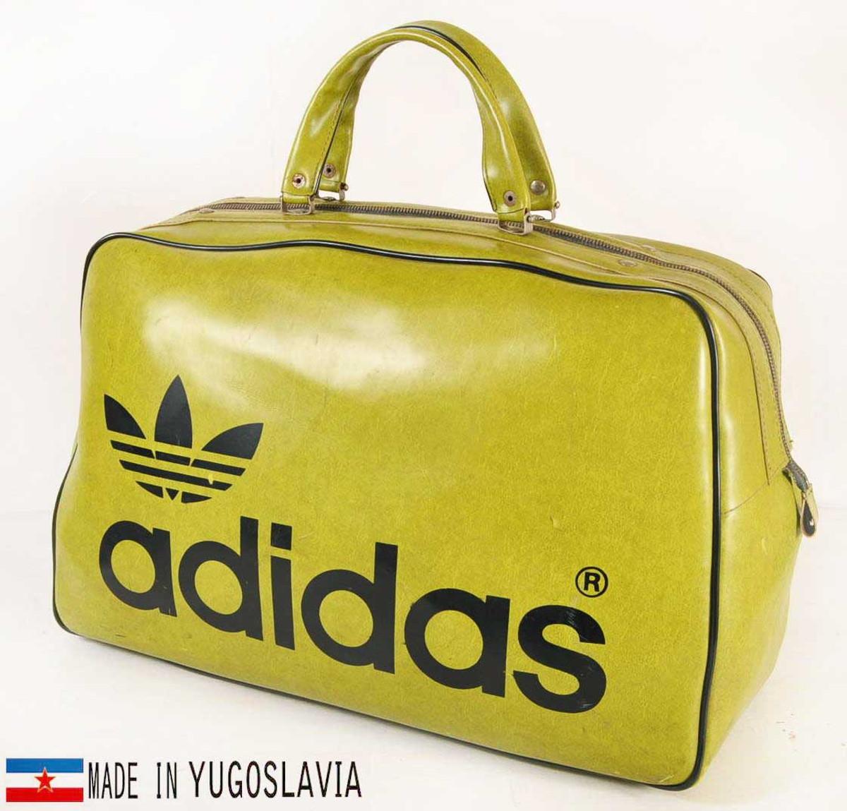 ヴィンテージ 1970年代初期 ユーゴスラビア製 adidas アディダス スポーツ ボストンバッグ グリーン【中古】▼