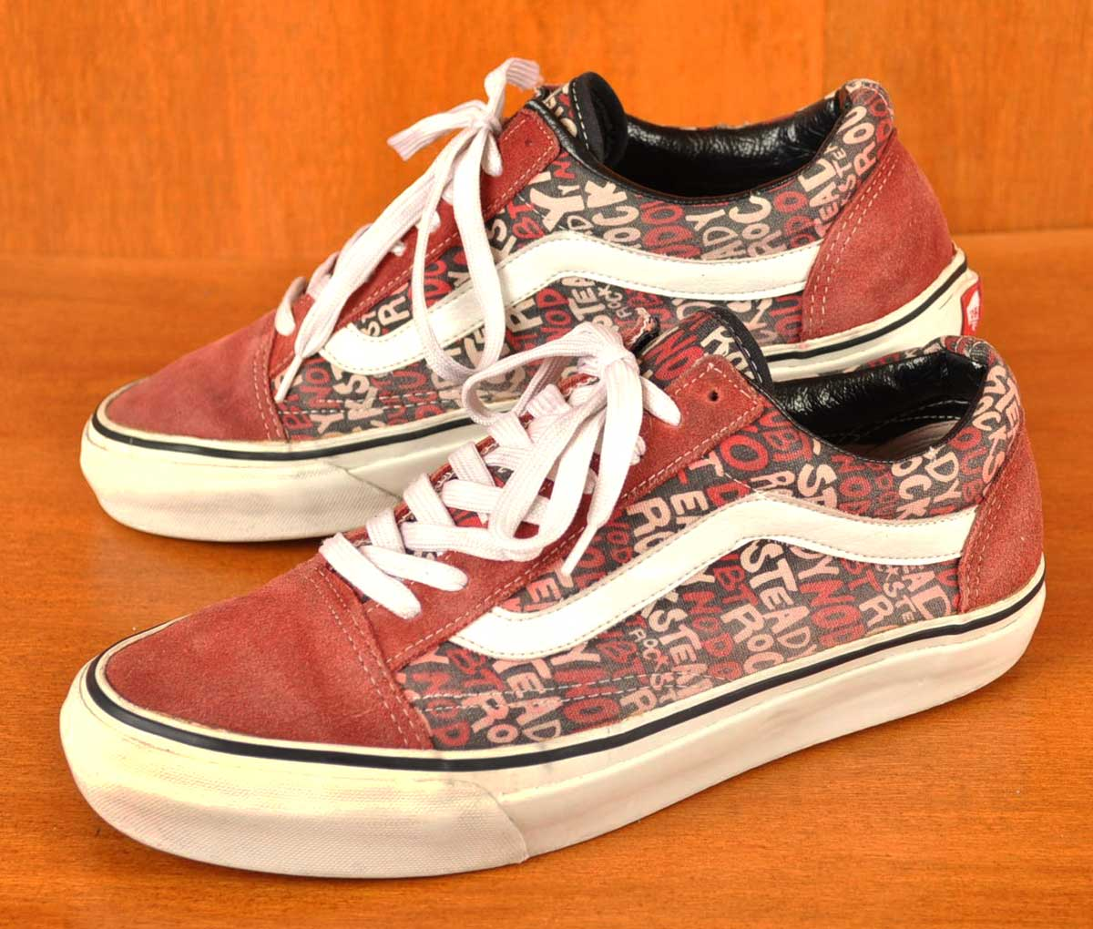 00's ~ VANS x NODOUBT vans x no doubt OLD SKOOL old school skate shoes red suede x white letter print canvas JPN27.0cm: