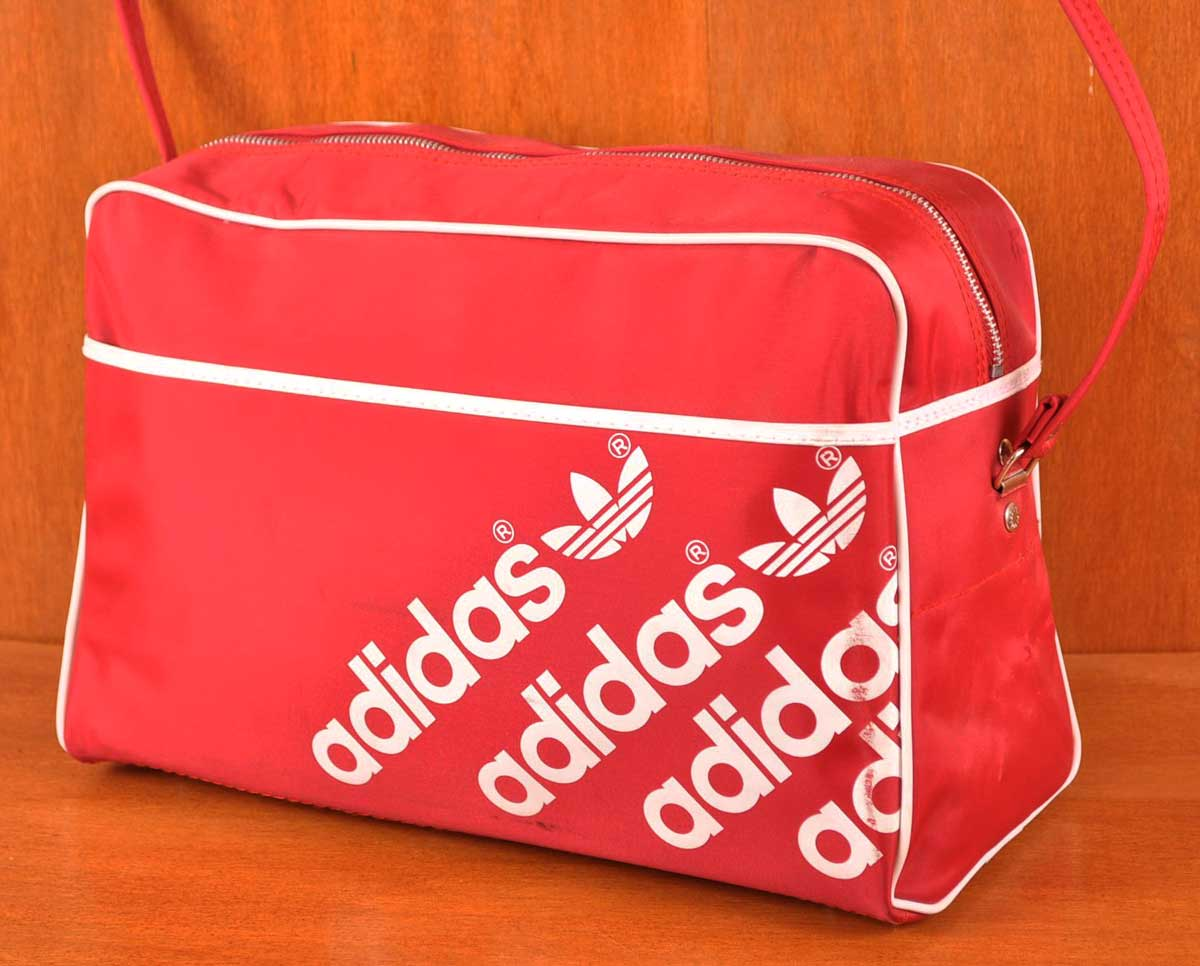ヴィンテージ 1980年代初期 / adidas アディダス / 3連ロゴライン ナイロン スポーツ ショルダーバッグ / レッド×ホワイト【中古】▽
