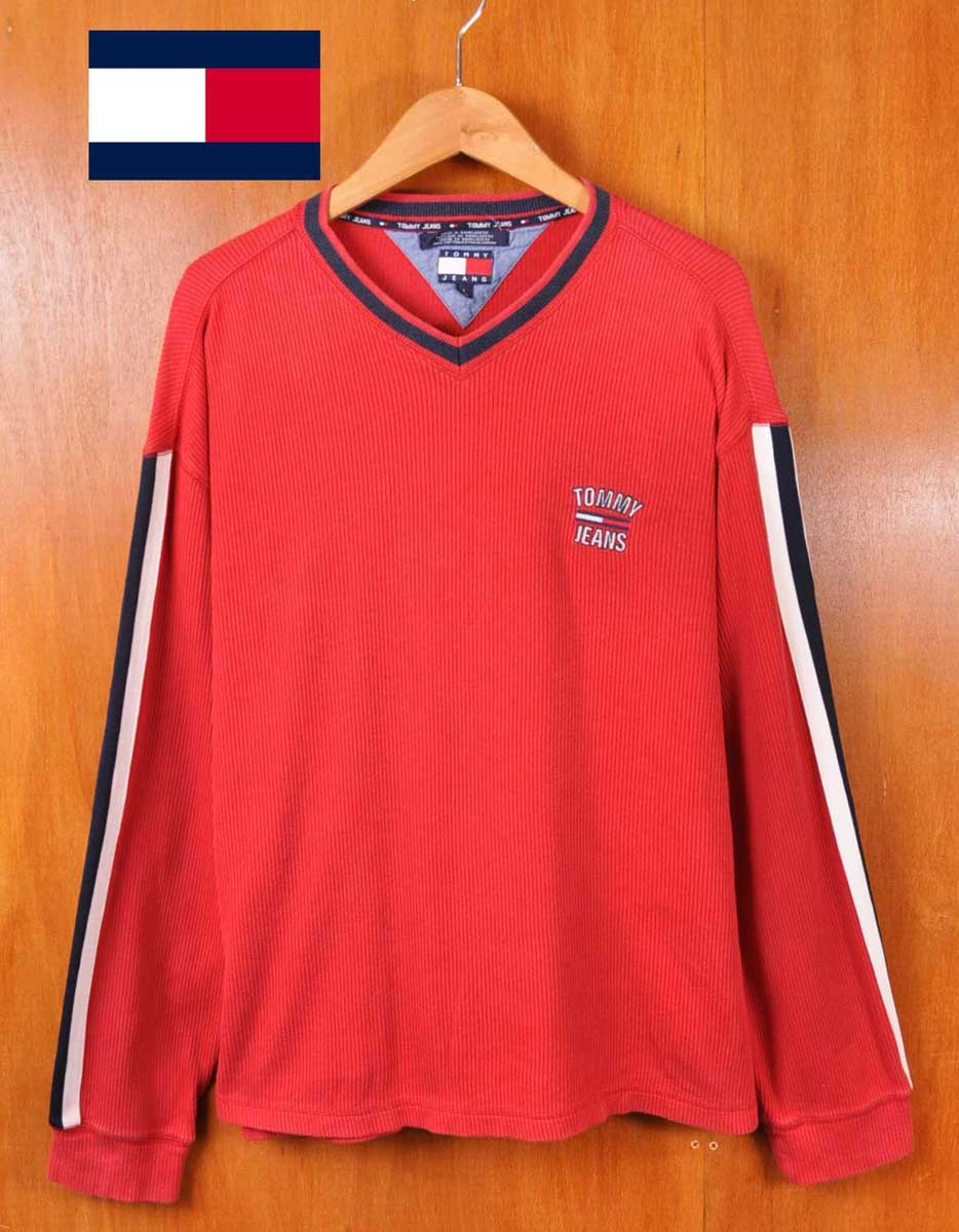 fd421936 Vintage 1990's and TOMMY JEANS Tommy jeans TOMMY HILFIGER Tommy Hilfiger /  teleconference material long sleeve T shirt long sleeve T Shirt / red  sleeves ...