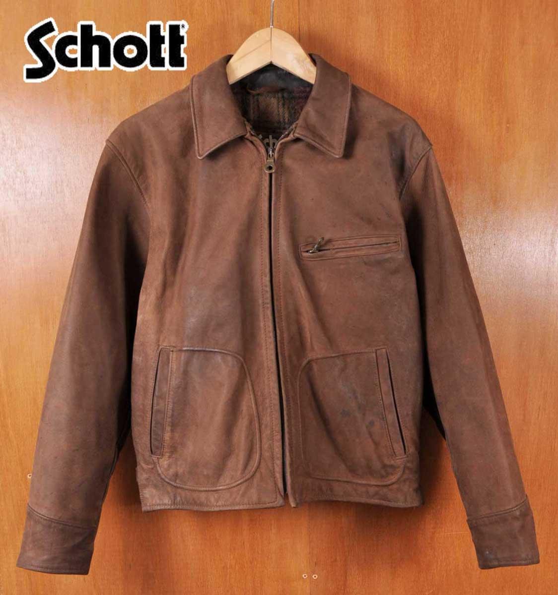 9ff0e648e5da1 Made in USA   SCHOTT shot   Tracker jacket nubuck leather jacket and wool  check liner ...