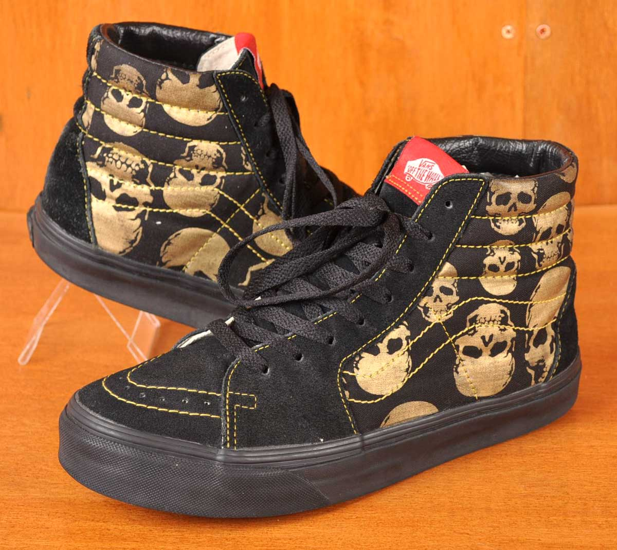 4df030c5651d VANS vans   SK8-HI skating high HI-TOP high top   black   gold skull  pattern   JPN26.0cm
