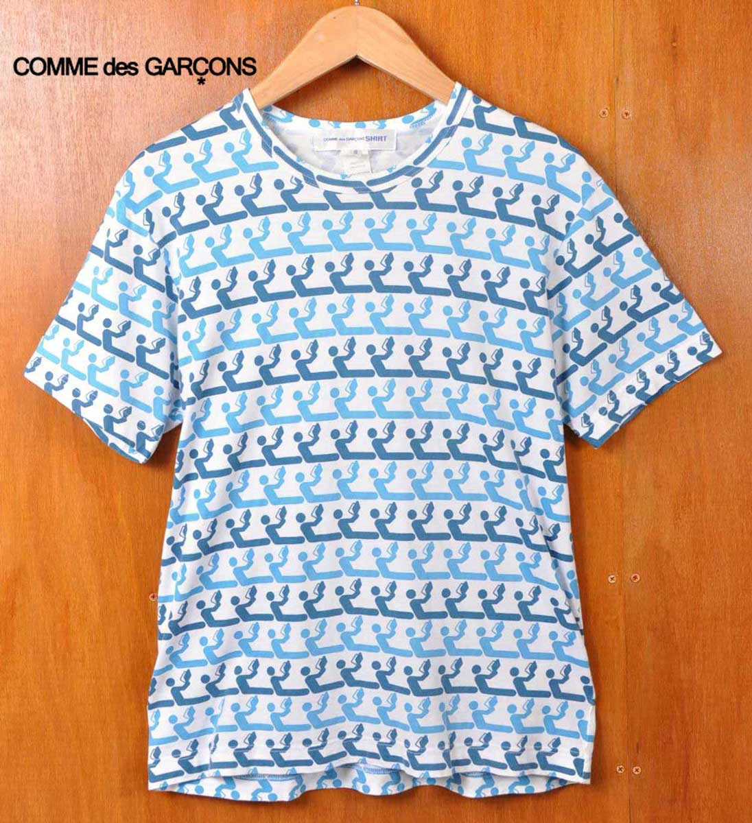 土耳其制造/COMME des GARCONS SHIRT com·德·姑娘损失衬衫/短袖T恤/白×蓝色派阅读花纹总花纹/人S▽