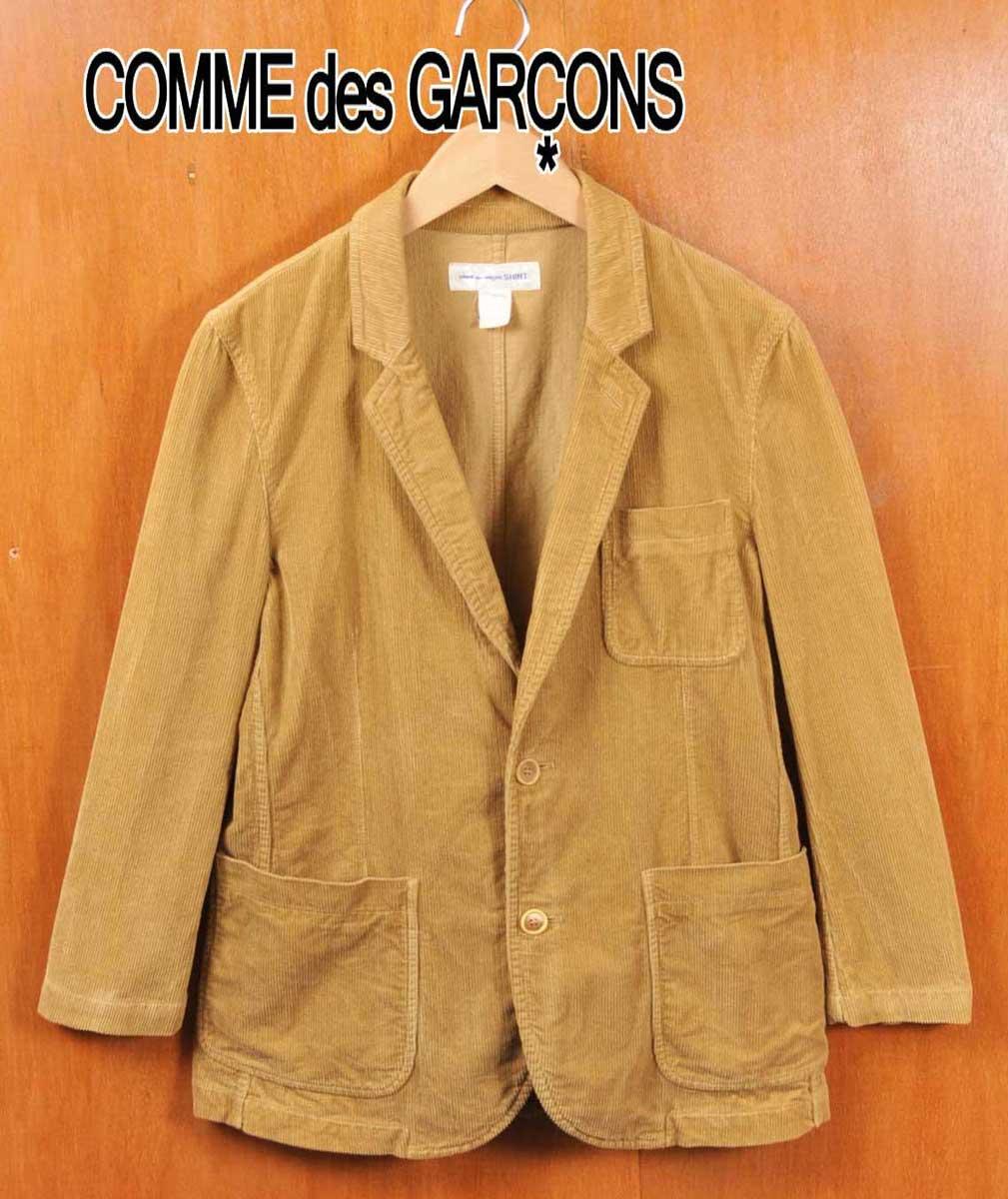 フランス製 / COMME des GARCONS SHIRT コム・デ・ギャルソン シャツ / コーデュロイ テーラードジャケットスタイル 2つボタンジャケット / オーカー / メンズS【中古】▽