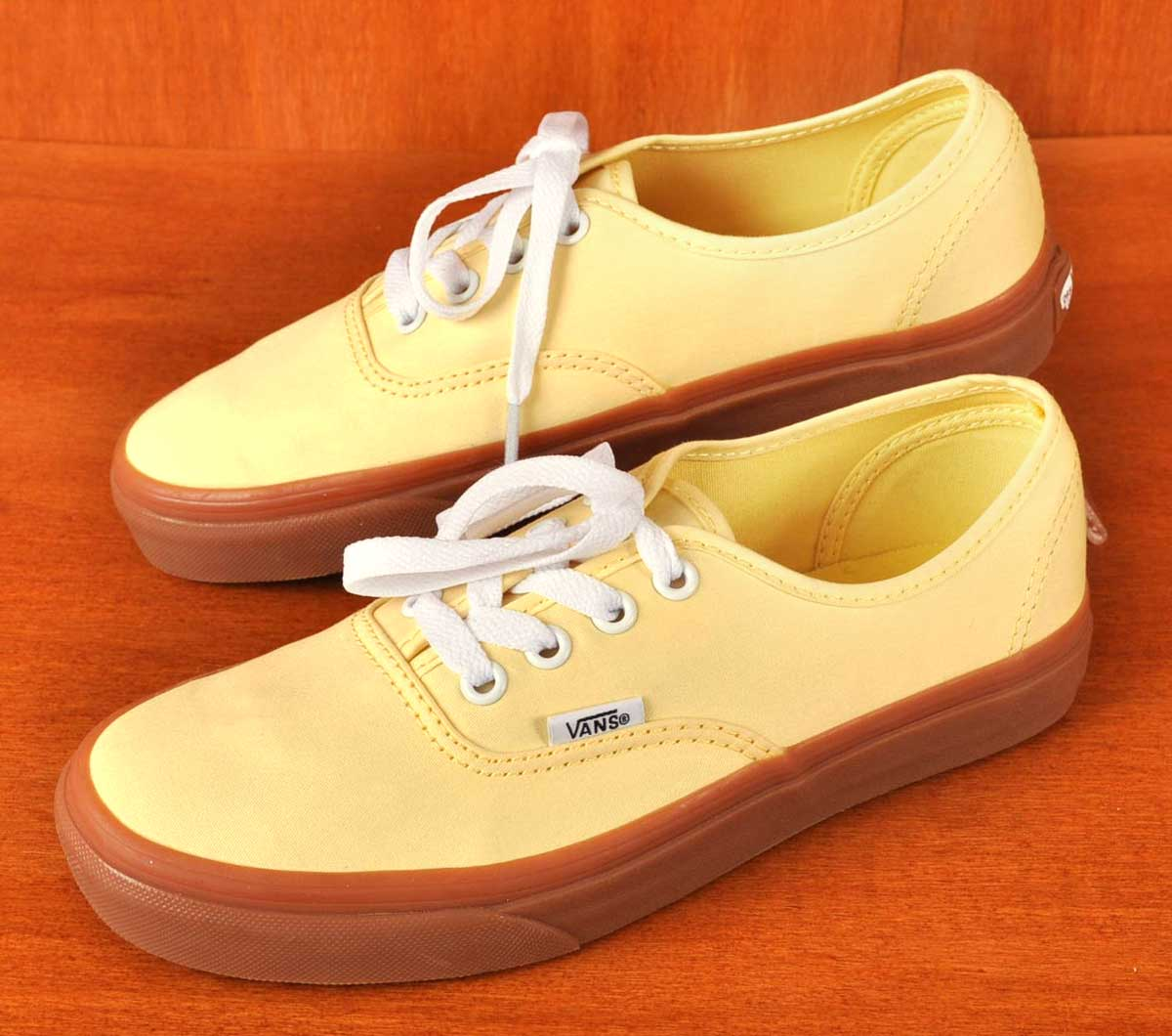 VANS vans   Authentic authentic   deckthews   banana yellow   gum sole  textile inspection 1778319f6