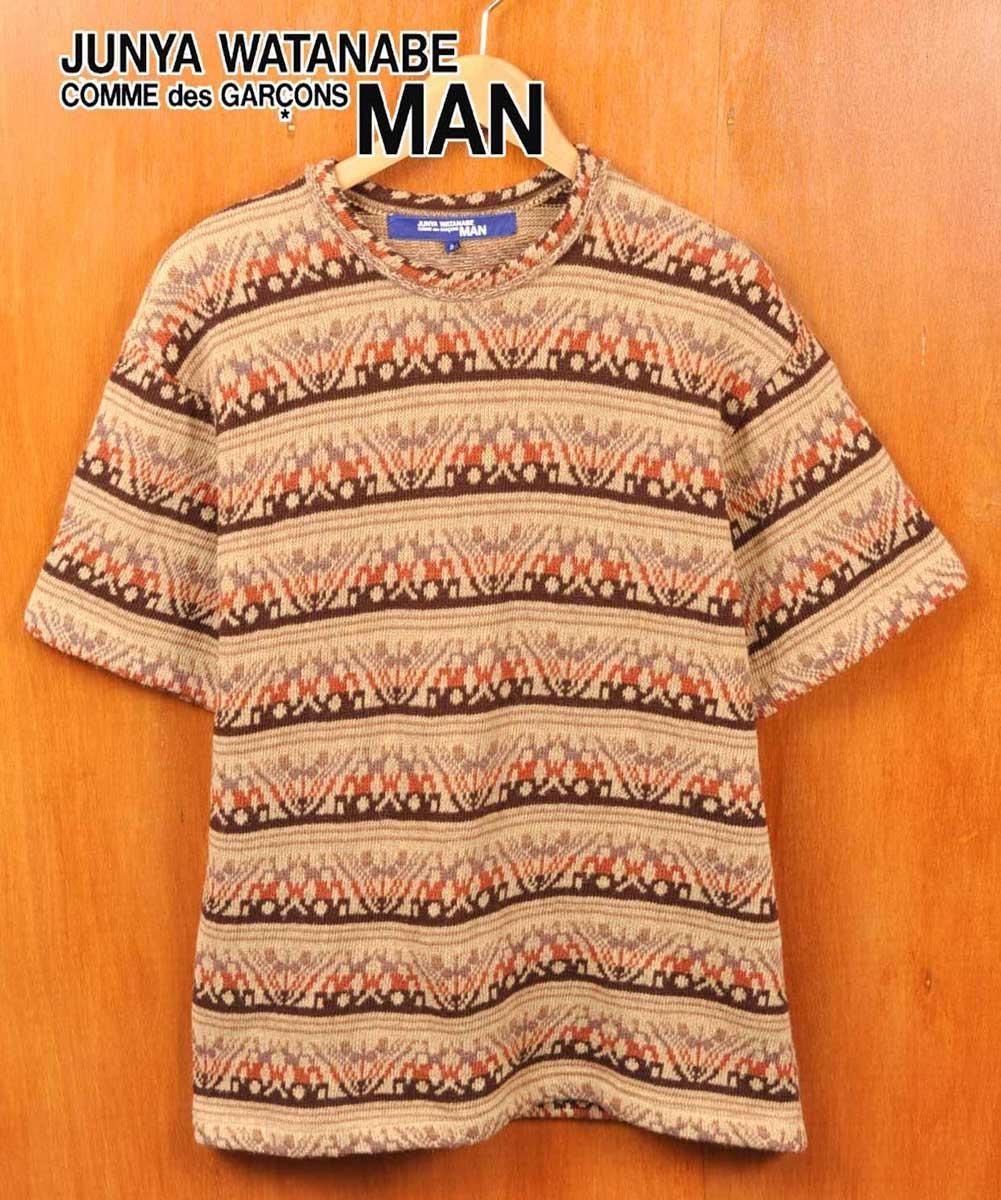 2003年 日本製 / JUNYA WATANABE MAN COMME des GARCONS ジュンヤワタナベ マン コム・デ・ギャルソン / ウールニット 半袖ニットセーター / ベージュ系 カントリー柄 ボーダー柄 / メンズS【中古】▽