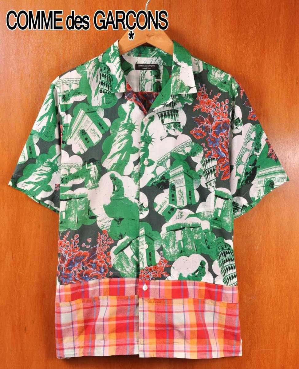 2001年 日本製 / COMME des GARCONS HOMME PLUS コム・デ・ギャルソン オム プリュス / ドッキングシャツ 裾切り替え 半袖シャツ / グリーン観光名所柄×花柄×チェック柄 / メンズM相当【中古】▽