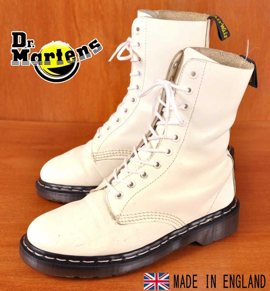 イングランド製 ヴィンテージ / Dr.martens ドクターマーチン / 10ホールブーツ / ホワイト レザー ホワイトステッチ / UK5 JPN24.0cm【中古】▽