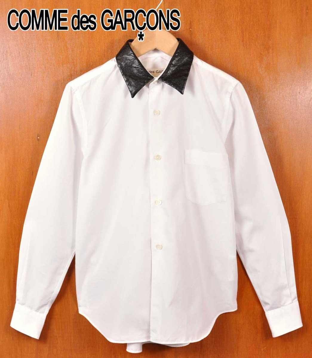2008年 日本製 / COMME des GARCONS コム・デ・ギャルソン / コットン クレリックシャツ 長袖シャツ / ホワイトベース 襟ブラック爬虫類型押し / レディースXS【中古】▽