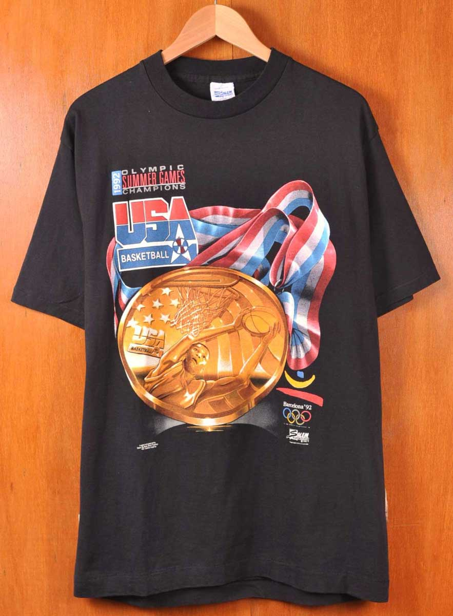 00d367ad559bc Representative from / SALEM Salem / Barcelona Olympics basketball United  States dream team championship memory / short sleeves T-shirt / black / men  L ...
