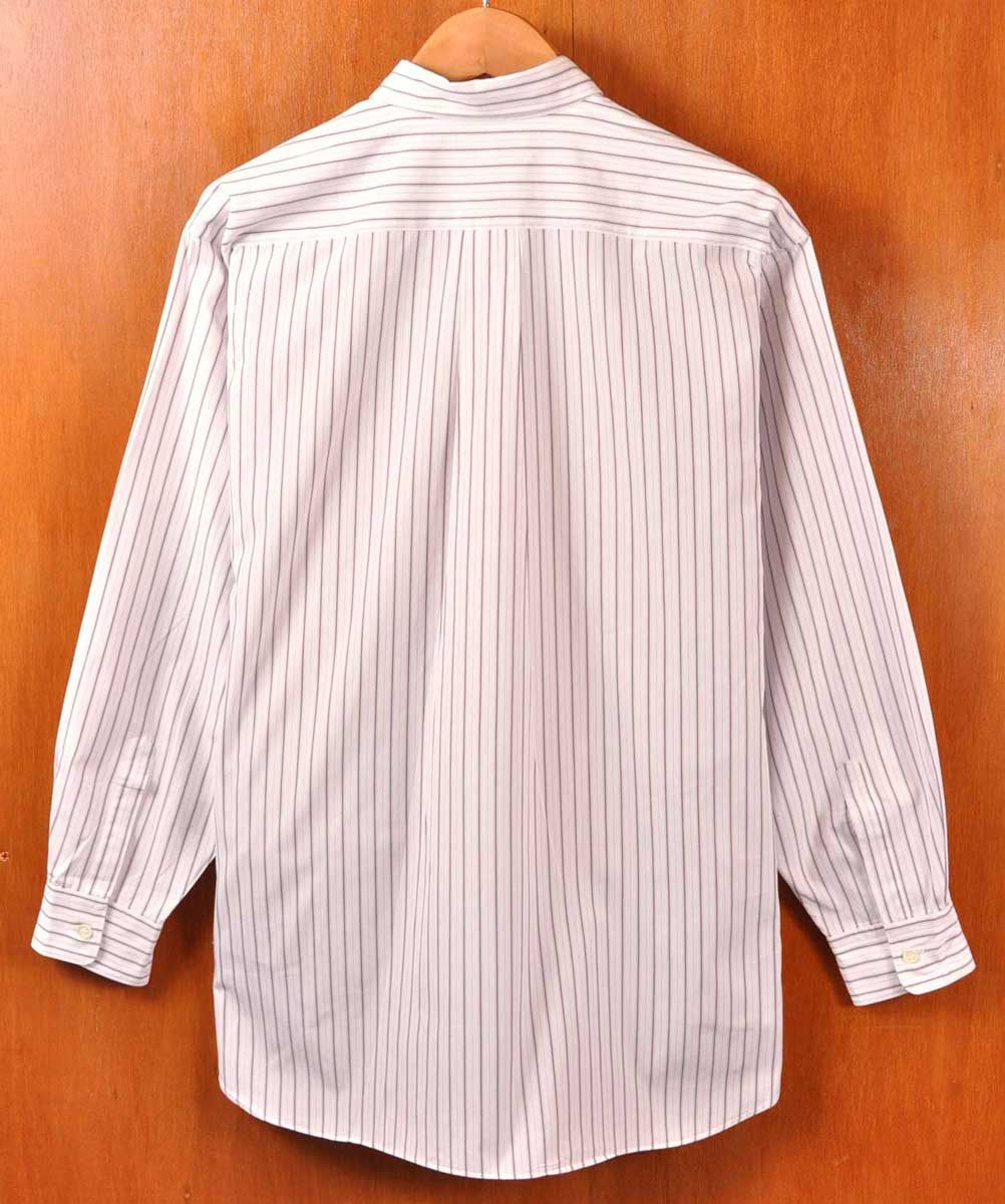 Vintage 1999 made in Japan / COMME des GARCONS HOMME com, de, Garson OM / cotton long sleeve shirt / white base * Brown x pink stripe pattern and men's XL equivalent: