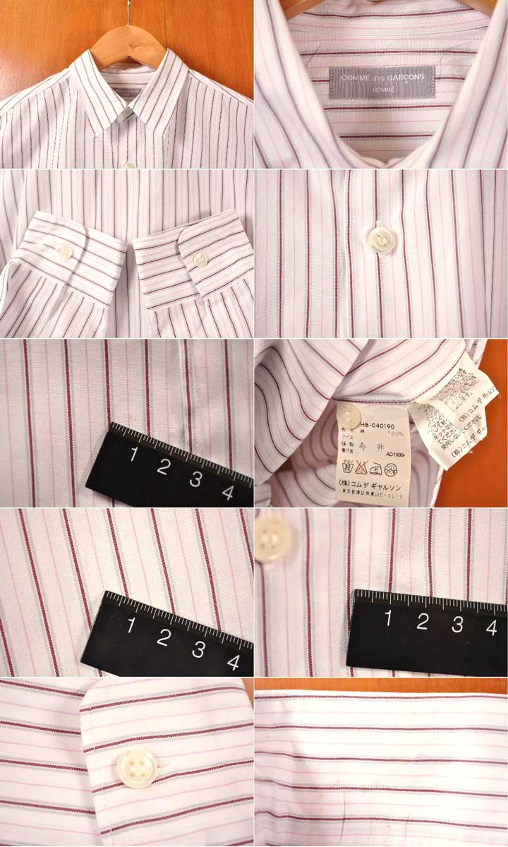 Vintage 1999 made in Japan / COMME des GARCONS HOMME com, de, Garson OM / cotton long sleeve shirt / white base * Brown x pink stripe pattern and men's XL equivalent: